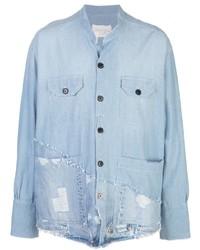 Greg Lauren Distressed Denim Shirt