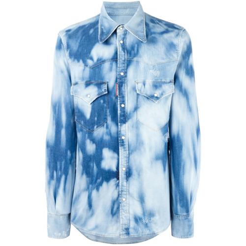 49ed478746 ... Blue Denim Shirts DSQUARED2 Bleached Effect Denim Shirt