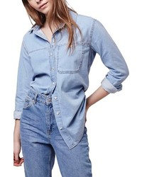 Topshop Elton Oversized Denim Shirt