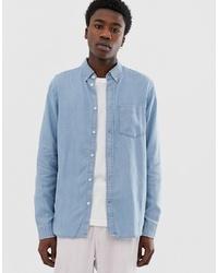 Weekday Jack Denim Shirt In Light Blue