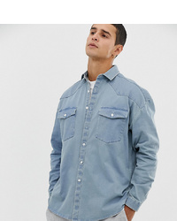Collusion Oversized Western Shirt In Light Wash