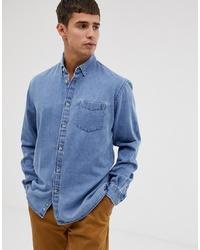 Celio Regular Fit Long Sleeve Denim Shirt In Bleach Wash