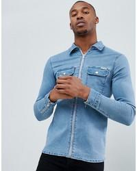 Liquor N Poker Shirt With In Light Blue