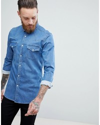 ASOS DESIGN Skinny Western Denim Shirt In Mid Wash
