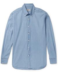 Slim fit button down collar denim shirt medium 1246344