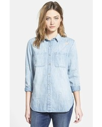 Treasurebond Destroyed Denim Shirt
