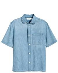 Light Blue Denim Short Sleeve Shirt