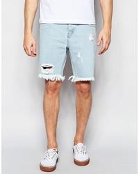 Afends Cut Off Denim Shorts Stone Blue