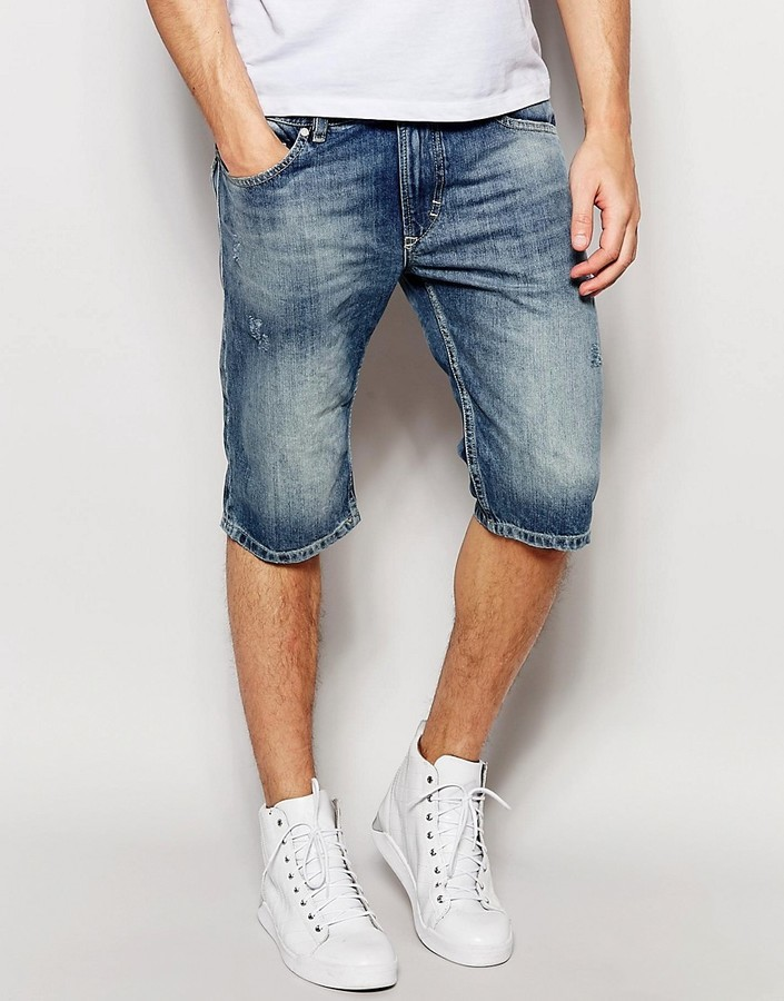... Diesel Denim Shorts Thashort Slim Fit In Light Distress Wash ... 796c797c3f80