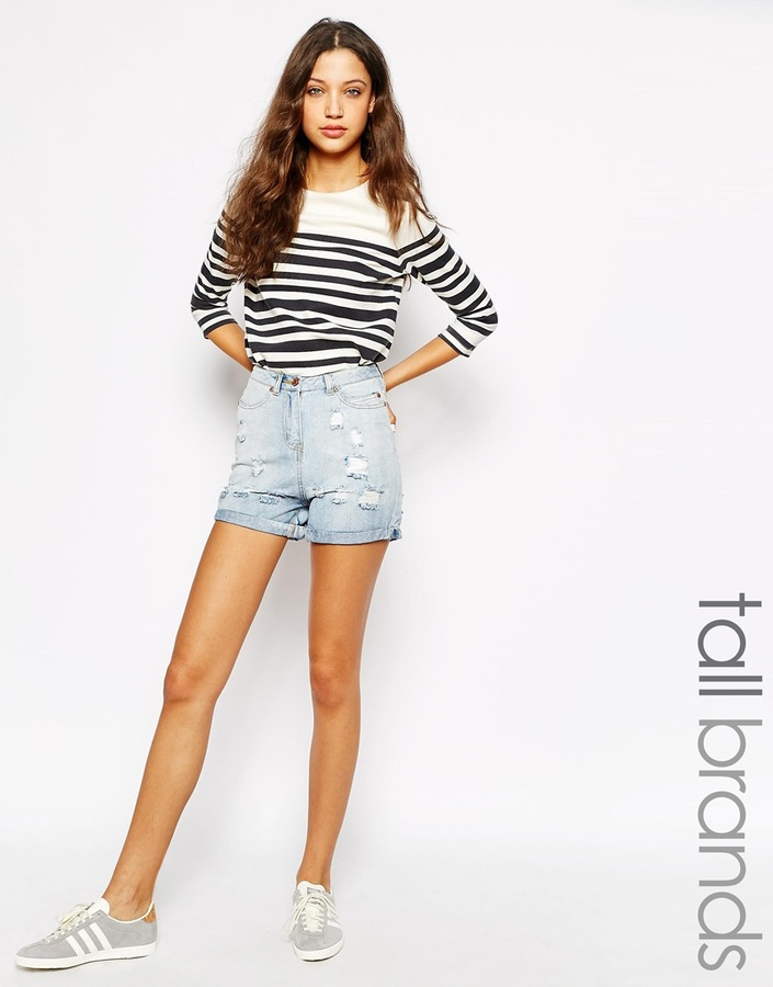 798ff157eb Women's Fashion › Shorts › Asos › Light Blue Denim Shorts Noisy May Tall  Distressed Denim Short ...