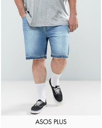 Asos Plus Slim Denim Shorts In Mid Wash Blue With Cut And Sew Detail