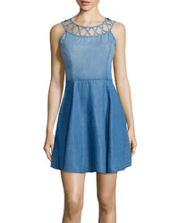 Light Blue Denim Skater Dress