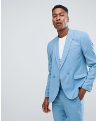ASOS DESIGN Slim Double Breasted Suit Jacket In Blue Drapey Fabric