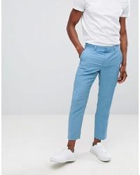 ASOS DESIGN Slim Crop Suit Trousers In Blue Drapey Fabric