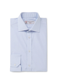 Turnbull & Asser Blue Slim Fit Cutaway Collar Micro Checked Cotton Poplin Shirt