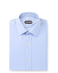 Tom Ford Blue Slim Fit Prince Of Wales Checked Cotton Shirt