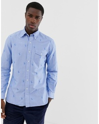 Polo Ralph Lauren Custom Regular Fit All Over Pony Oxford Shirt With Collar In White