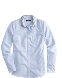 J.Crew Jeweled Peter Pan Oxford Boy Shirt In Blue
