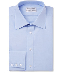 Turnbull & Asser Kingsman Blue Cotton Royal Oxford Shirt
