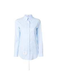 Thom Browne Lace Up Back Long Sleeve Button Down Point Collar Shirt In Solid Poplin
