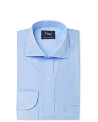 Drake's Light Blue Cutaway Collar End On End Cotton Shirt
