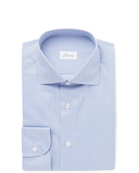 Brioni Light Blue Cutaway Collar Puppytooth Cotton Shirt