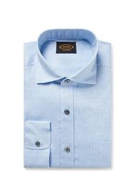 Tod's Light Blue Mlange Linen Shirt