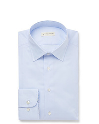 Etro Light Blue Slim Fit Cotton Oxford Shirt