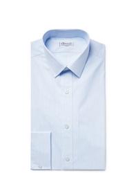 Charvet Light Blue Slim Fit Pinstriped Cotton Poplin Shirt