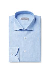 Canali Light Blue Slim Fit Pinstriped Linen Shirt
