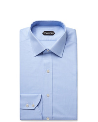 Tom Ford Light Blue Slim Fit Puppytooth Cotton Shirt