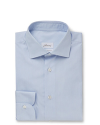 Brioni Light Blue Slim Fit Striped Cotton Shirt