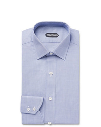 Tom Ford Navy Slim Fit Puppytooth Cotton Shirt