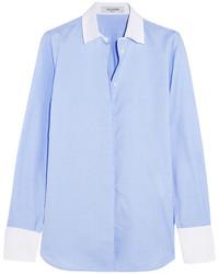 Valentino Piqu Trimmed Cotton Chambray Shirt