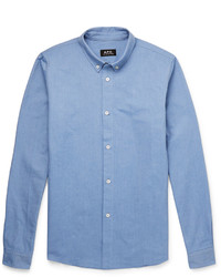 A.P.C. Slim Fit Button Down Collar Cotton Oxford Shirt