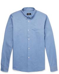 A.P.C. Slim Fit Button Down Collar Cotton Oxford Shirt