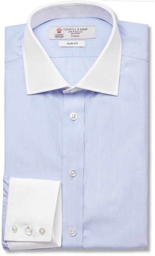 Turnbull & Asser Turnbull & Asser Blue Contrast-Collar and Cuff ...