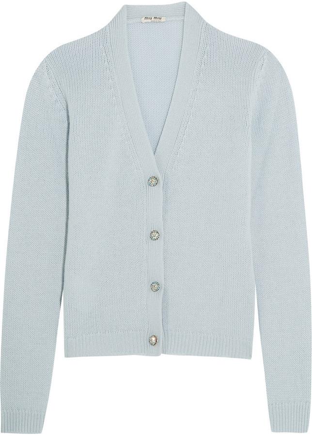 Blue Cardigan Cashmere Embellished Sky Crystal xw4PqYFI
