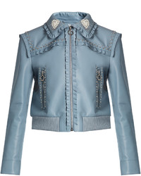 Miu Miu Crystal And Stud Embellished Leather Bomber Jacket