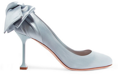 80ba28081618 ... Miu Miu Bow Embellished Satin Pumps Sky Blue ...