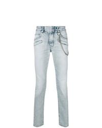 Light Blue Embellished Skinny Jeans