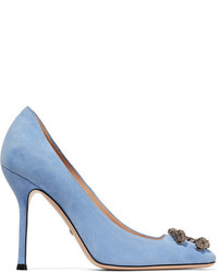 Gucci Dionysus Embellished Suede Pumps Light Blue