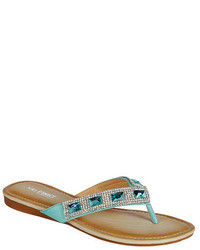 Light Blue Embellished Thong Sandals