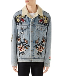 Light Blue Embroidered Denim Jacket