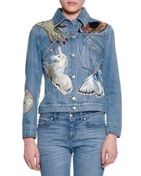 Sequin embroidered denim jacket medium 825452