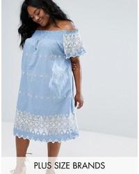Embroidered bardot dress medium 3708654