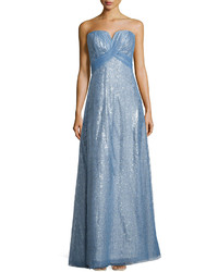 Light Blue Embroidered Evening Dress