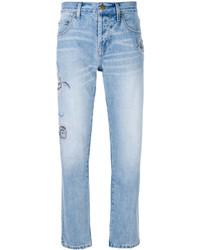 Current/Elliott Embroidered Straight Leg Jeans