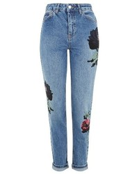Topshop Floral Embroidered Mom Jeans