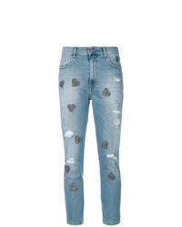 History Repeats Heart Appliqu Cropped Jeans